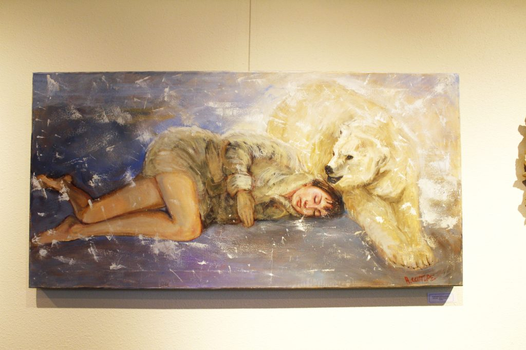 """Sleeping w/ Polar Bear"" by Hilarie Couture. Photo by Matana McIntire."