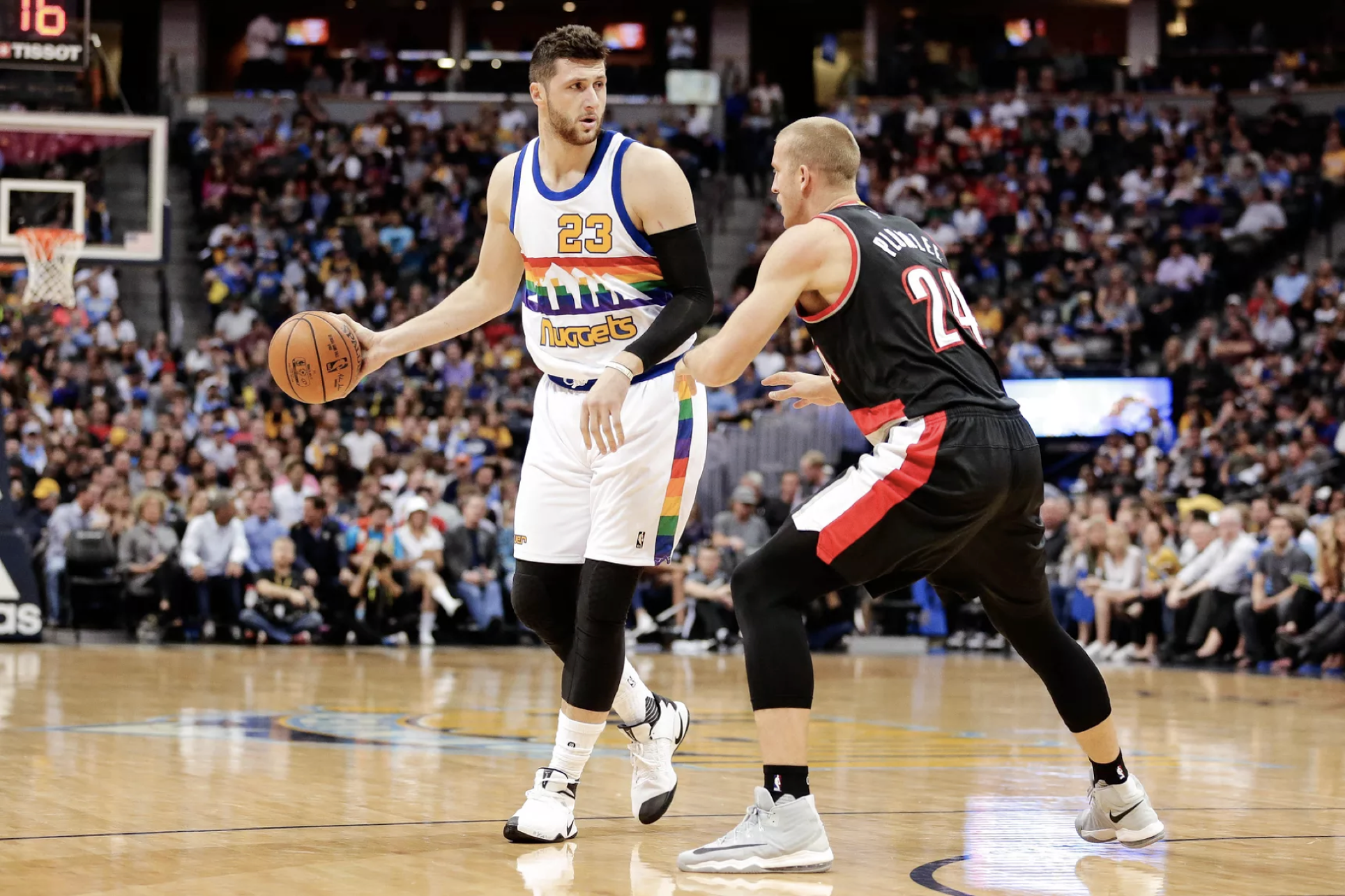 Jusif Nurkic scored 13 points, on five of five shooting, and pulled down seven rebounds in his Blazers debut against the Utah Jazz Wednesday night.