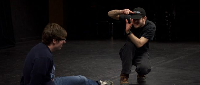 Improv members Josh Carter and Benjamin Rulla during rehearsal. Photo by Fadi Shahin.