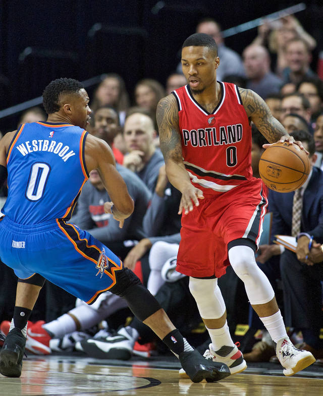 Damian Lillard (right) is averaging his career high 25.7 points per game this season. Russel Westbrook (left) is averaging a tripple double this season.