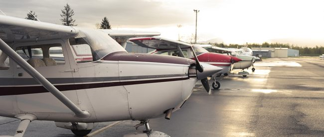 A lineup of some of the planes at the Troutdale airport, photo by Alex Crull.
